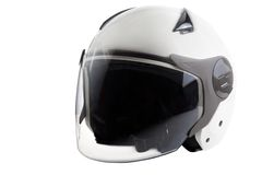 White modern scooter helmet Stock Photo