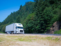 White modern semi truck reefer trailer on green summer highway Royalty Free Stock Image