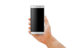 White modern smartphone with curved edge in man hand for mockup. Stock Image