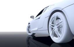 White Modern sport car. 3d render of white modern sport car on reflected surface Stock Image
