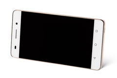 White modern touch screen smartphones in horizontal Stock Photos