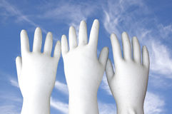 White Molded Hands Reaching to the Sky Stock Image