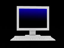 The white monitor and keyboard Stock Image