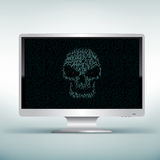 White monitor with skull code Stock Images