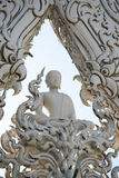 White monk meditation statue at Rong Khun temple Stock Photo
