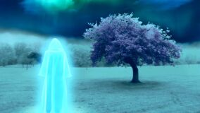 White monk in surreal landscape