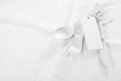 White monochromatic table setting Royalty Free Stock Images