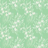 White monochrome abstract ditsy gestural floral vector seamless pattern. Spring blooms, foliage. stock illustration