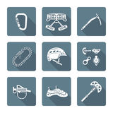 White monochrome various alpinism tools icons collection Stock Photo