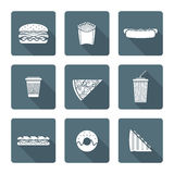 White monochrome various fast food icons collection Stock Photography