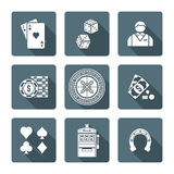 White monochrome various gambling icons collection Stock Photo