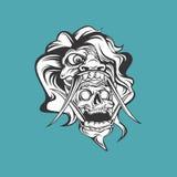 White monster skull fang vector illustration