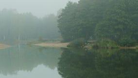 White morning mist. Over the river stock video