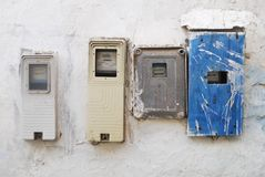 White moroccan wall with electric meters Royalty Free Stock Images