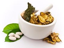 White mortar and pestle. Herbals, pills and green leaves stock photo