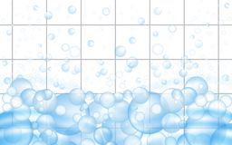 White mosaic tiles background with soap bubbles floating. Bathroom or kitchen cleaners ads. Vector. Illustration vector illustration