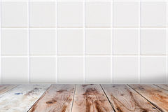 White mosaic wall and brown wooden floor. Architectual background made of white mosaic wall and brown wooden floor Stock Photography