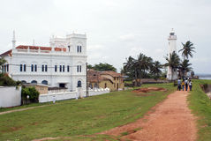 White mosque and light house. In south part of Old town Galle, Sri Lanka Stock Photo