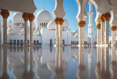 White Mosque. Middle East, United Arab Amirates, Abu Dhabi , Sheikh Zayed Mosque Royalty Free Stock Photography