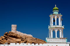White mosque with minaret against blue sky Royalty Free Stock Photos
