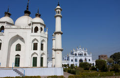 White mosque at the sunny day Royalty Free Stock Photo
