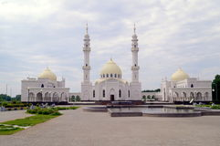 White Mosque in Tatarstan Bulgar muslim regious building with blue sky and clouds Royalty Free Stock Photo