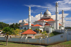 White mosque in tropical Malaysia Royalty Free Stock Image