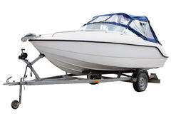 White motor boat. Stock Photos