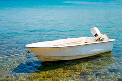 White motor boat stock image