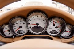 White Motorcycle Cluster Gauge Stock Photography