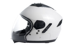 White motorcycle helmet. White, shiny motorcycle helmet isolated Stock Photos