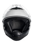 White motorcycle helmet. White, shiny motorcycle helmet isolated Stock Image
