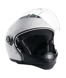 White motorcycle helmet. White, shiny motorcycle helmet isolated Stock Images