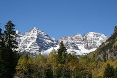 White mountain. Snow covered mountains behind fall colors Stock Photos