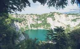 White mountain around the green lake. And forest Royalty Free Stock Photos