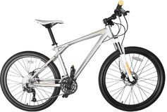 A white mountain bike isolated on white background. White mountain bike sport background isolated model Stock Photography