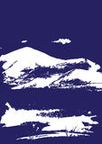 White mountain range with texture on blue. Landscape sketch. Royalty Free Stock Photography