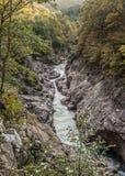 White Mountain River in the rocky gorge. Granite Canyon. Stock Photos