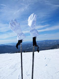 White mountain-skier gloves Stock Photography