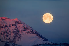White mountains and full moon sunrise. Stock Photography