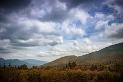 White mountains in new hampshire prepares for fall folliage. On a sunny day royalty free stock photography
