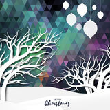 White mountains on polygonal festive background with merry christmas ball. Garlands and origami tree. Mountain landscape. Xmas and New Year paper cut style Royalty Free Stock Photo