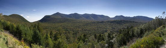 The White Mountains. A stitched image of The White Mountains National Forest New Hampshire from the Kancamagus Highway Royalty Free Stock Photo