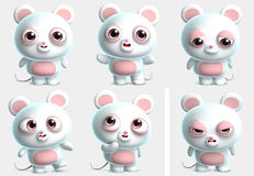 White mouse. 3d cartoon cute white mouse Royalty Free Stock Image