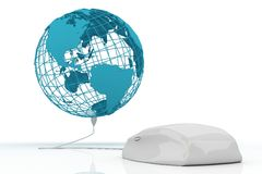 White mouse connected to the world stock illustration