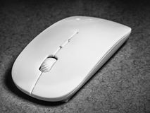 White mouse Device for the computer. Close up Stock Image