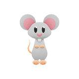 White mouse, rat is cute cartoon illustration from animal of pap Stock Image