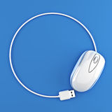 White mouse in the shape of a circle with room for your text or copy space Royalty Free Stock Photo