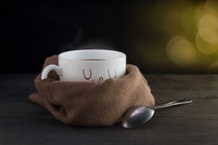 White mug of coffee with a happy smile Royalty Free Stock Photography