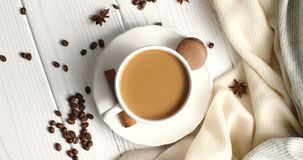 White mug of coffee on table Royalty Free Stock Images